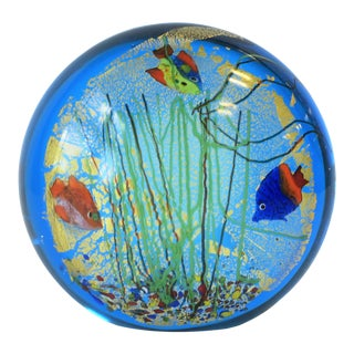 Blue and Gold Italian Murano Fish and Sea Art Glass Decorative Object For Sale
