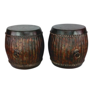 1960s Safari Wooden Drum Stools / Side Tables - a Pair For Sale