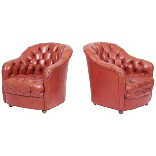 Ward Bennett Tufted Club Chairs, Original Red Leather For Sale