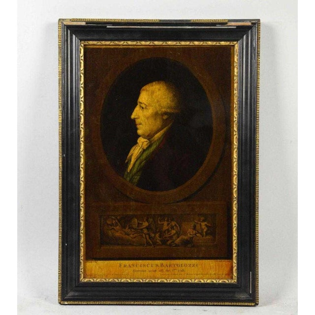 I. Bouillard (19th Century) Franciscus Bartolizzi Reverse Painting on Glass For Sale In Los Angeles - Image 6 of 7