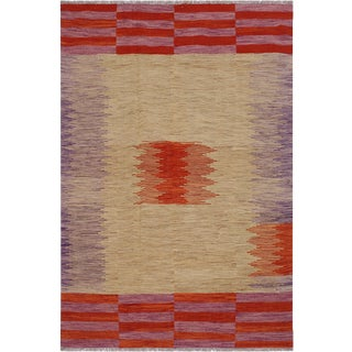Modern Abstract Kilim Augustin Hand-Woven Wool Rug - 5′5″ × 7′9″ For Sale