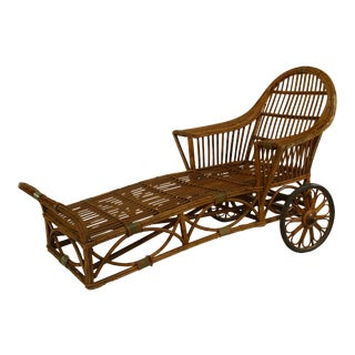 American Art Deco Wheeled Wicker Chaise For Sale