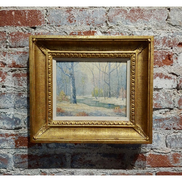 William Krullaars -Winter Solitude by the Creek Landscape - Oil Painting-C1900s For Sale - Image 10 of 10