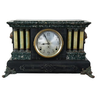 1906 Seth Thomas Adamantine Servia Imperial Mantel Clock Marbled Celluloid Lions For Sale