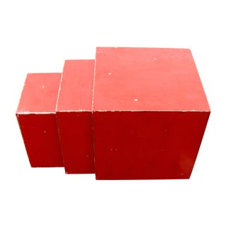 Minimalist Distressed Red Nesting Side Tables- S/3