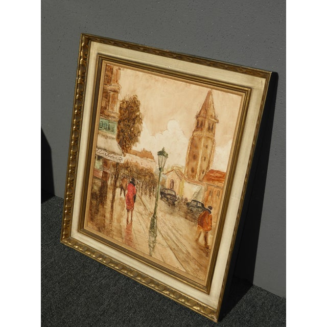 Vintage Mid-Century French City Scape Oil Painting Picture Gold Frame For Sale - Image 5 of 11