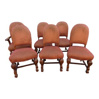 Set 6 Antique English Jacobean Tudor Carved Elizabethan Walnut Dining Room Chairs For Sale