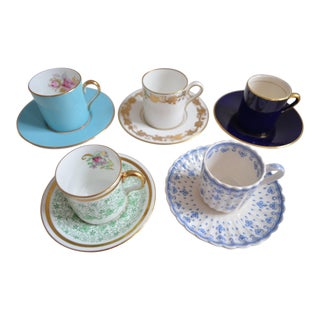 English Demitasse Espresso Cups & Saucers Collection - Set of 5 For Sale