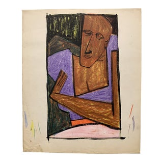 """Donald Stacy """"Stay There"""" C.1950s Oil Pastel Gouache Mid Century Portrait For Sale"""