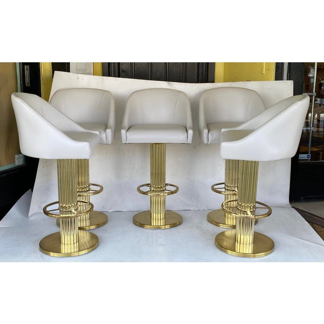 Neoclassical 1980s Vintage Designs for Leisure Barstools - Set of 5 For Sale - Image 3 of 12