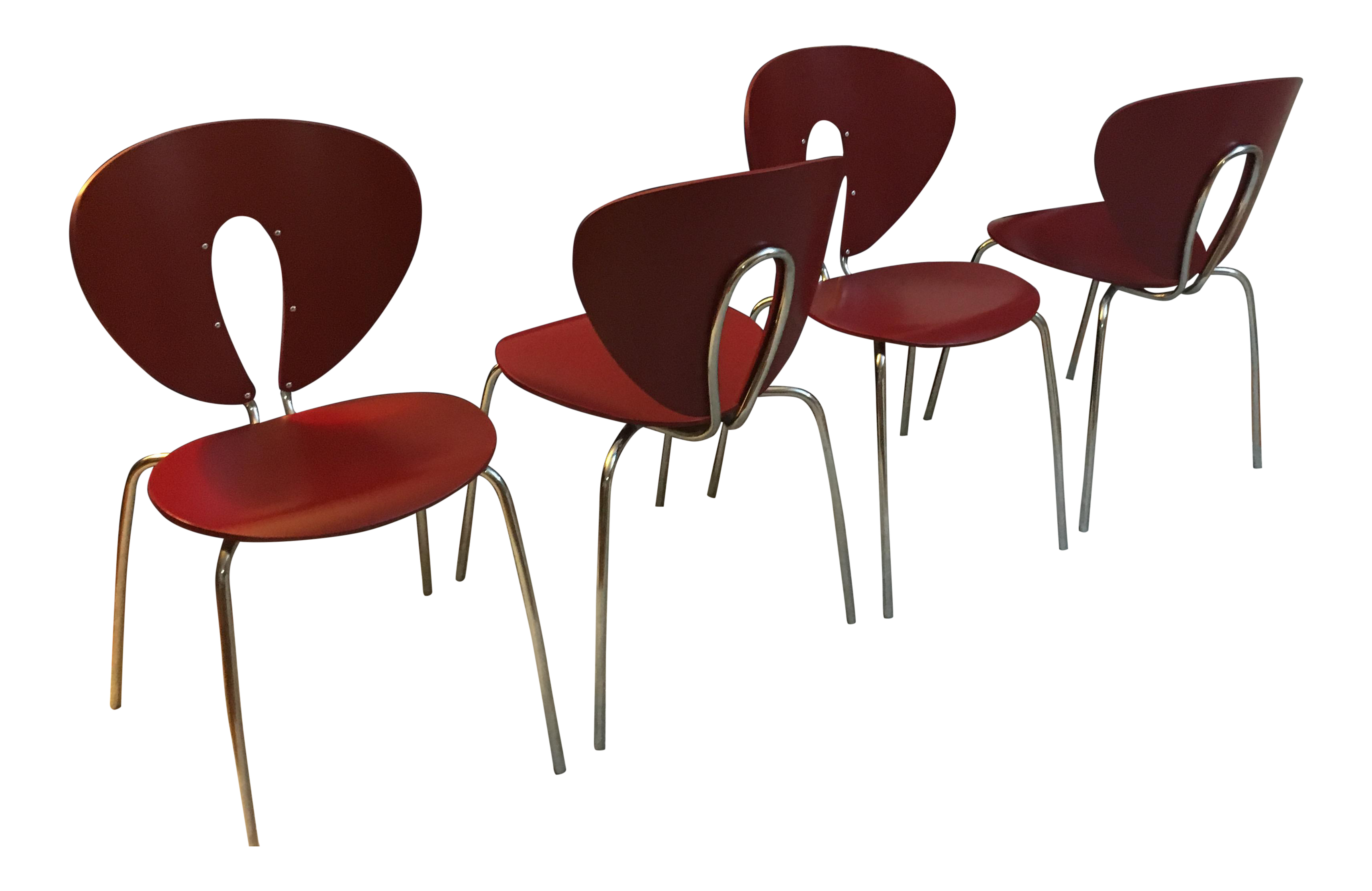 Design Within Reach Red Globus Chairs   Set Of 4