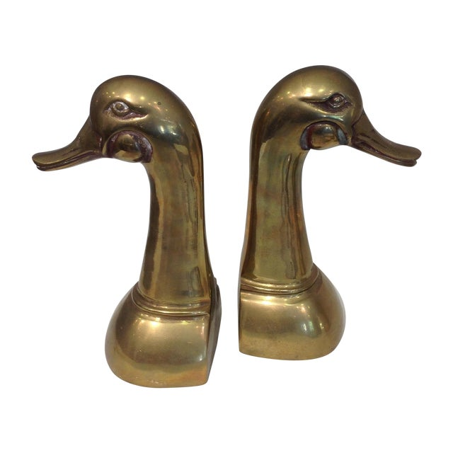 Tall Brass Duck Bookends - A Pair - Image 1 of 6