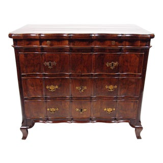 Dutch Baroque Walnut Three Drawer Chest of Drawers For Sale