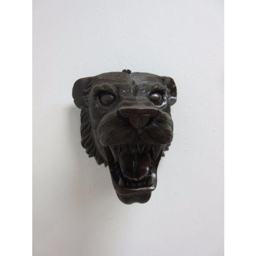 Hand Carved Mahogany Lion Tiger Head Wall Mount - Image 2 of 8
