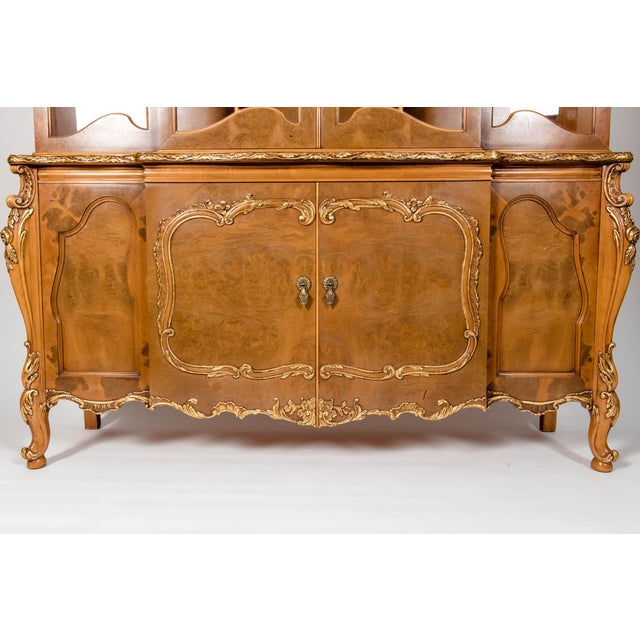 20th Century Two Parts Burlwood Hutch or China Cabinet For Sale In New York - Image 6 of 13