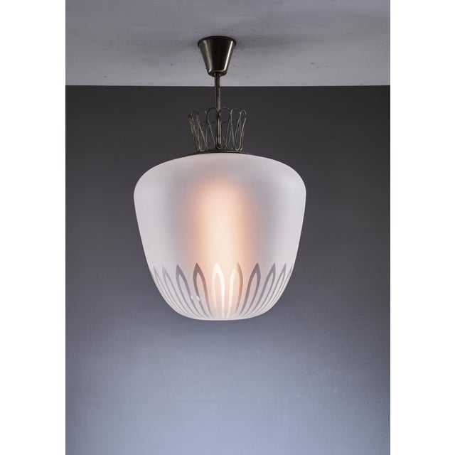 1940s Large Swedish frosted glass and brass pendant, 1940s For Sale - Image 5 of 5