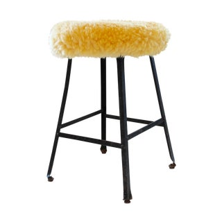 Alpaca Fur Upholstered Industrial Stool For Sale