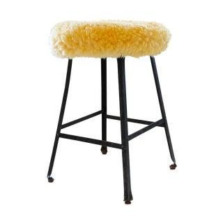 Alpaca Fur Upholstered Industrial Stool
