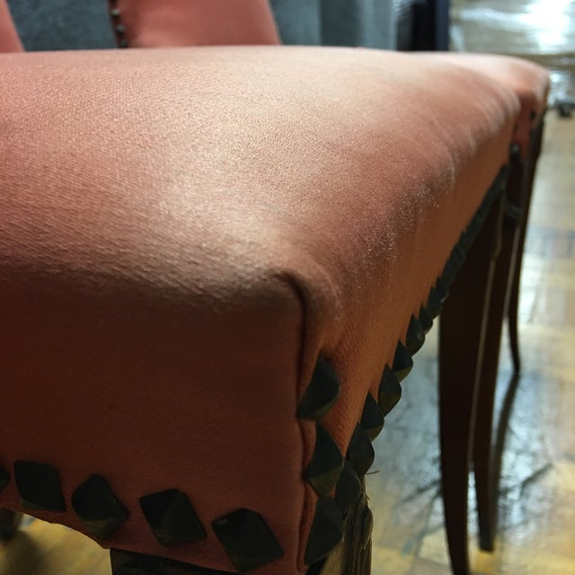 Antique Orange High Back Chairs - A Pair - Image 4 of 7