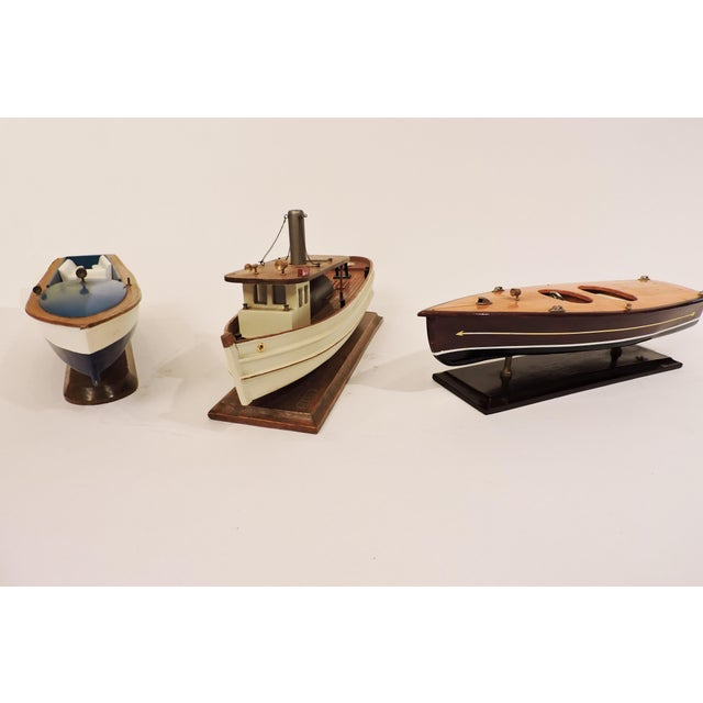 Late 20th Century Handmade Wooden Model Vintage Speed Boat For Sale - Image 5 of 6