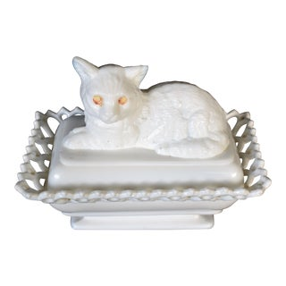 Cat Milk Glass Jewellery Box