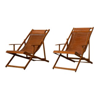 Vintage Japanese Bamboo Outdoor Folding Chairs - A Pair