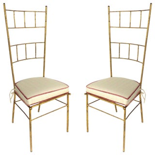 1970s Vintage Baguès Style Italian Gilt Iron High Back Chairs- A Pair For Sale