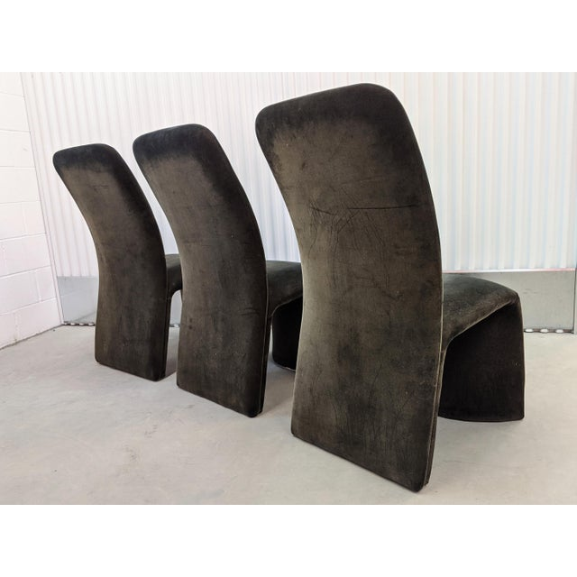 1990s Modernist Sculptural Ribbon Velvet Dining Chairs - Set of 3 For Sale - Image 5 of 13