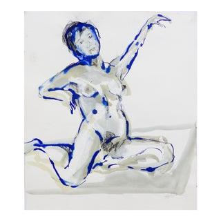 """""""Blue Dancer"""" Original Pastel Drawing by Martha Holden For Sale"""