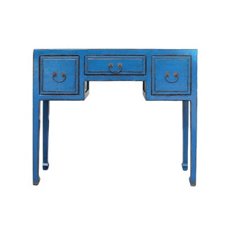 Chinese Distressed Bright Blue Lacquer 3 Drawers Table Desk For Sale