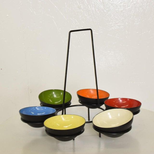 1960s Mid-Century Modern Center Piece Enamel Bowls - 6 Pc. Set For Sale - Image 5 of 10