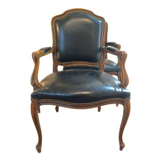 1980s Vintage Italian Leather French Country Arm Chair For Sale