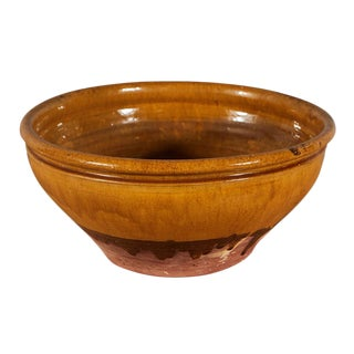 Large French Earthenware Bowl For Sale