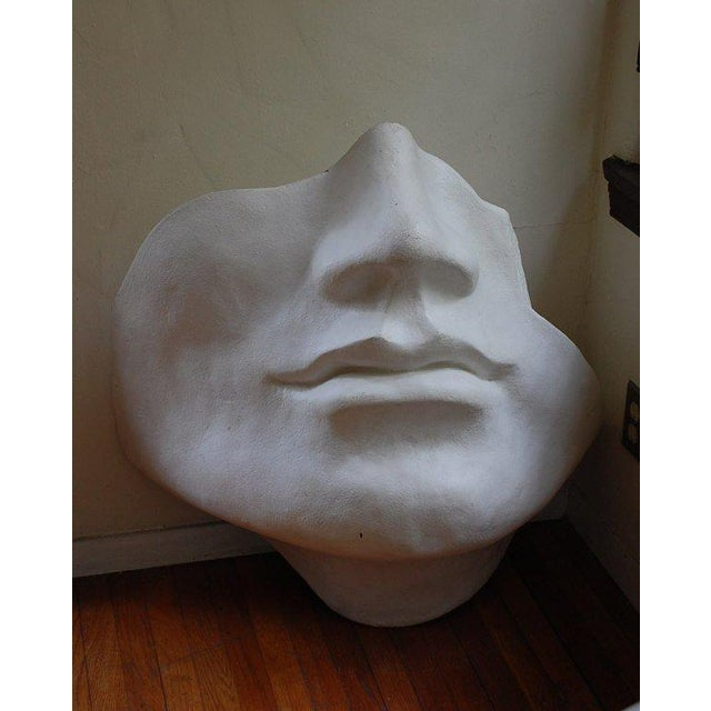 Mid 20th Century Mid Century Large Scale Faux Plaster Face Sculpture For Sale - Image 5 of 5