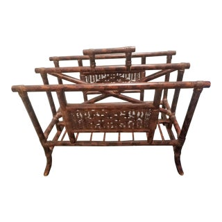 Late 20th Century Rattan and Wicker Magazine Rack For Sale