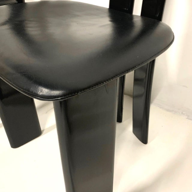 Set of 4 Sculptural 1970s Black Lacquer Pierre Cardin Chairs With Leather Seats For Sale In New York - Image 6 of 10