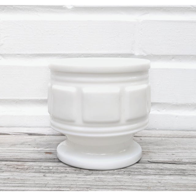 Vintage Mid Century Classical Style Milk Glass Pot For Sale - Image 4 of 4