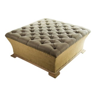 Webster Burlap Linen & Wood Large Tufted Ottoman For Sale