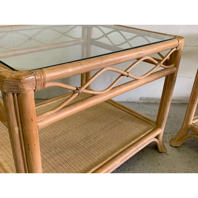 Mid-Century Modern Rattan and Glass End Tables, a Pair For Sale - Image 3 of 7
