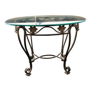 Metal Oval Glass Top Side Table For Sale