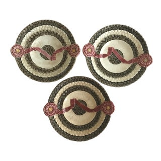 Floral Wedgewood Majolica Basketweave Ribbon Plates - Set of 3 For Sale