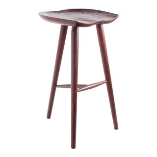 Hand Crafted Stool in Walnut For Sale