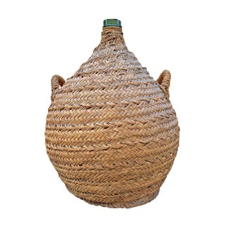 19th Century Italian Woven Wicker Covered Wine Jar For Sale