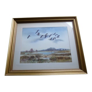 Robert Milliken Watercolor Greylag Geese Painting For Sale