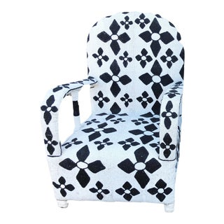 African Nigerian Yoruba Black& White Beaded Chair For Sale