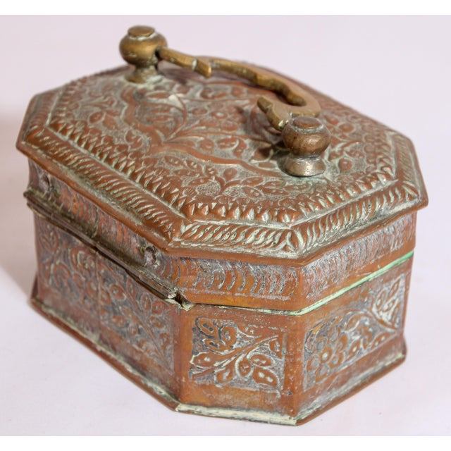 Early 20th Century Anglo-Indian Handcrafted Tinned Copper Metal Spices Caddy Box For Sale - Image 5 of 13