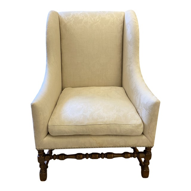 Damask Fabric Chair With Down Cushion and Mahogany Frame For Sale