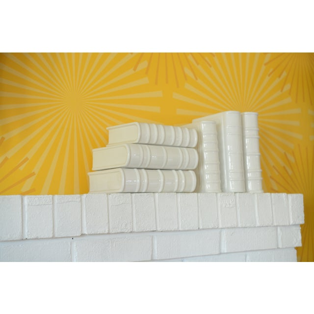 White Post Modern Ceramic White Book Sculptures - 6 Piece Set For Sale - Image 8 of 10