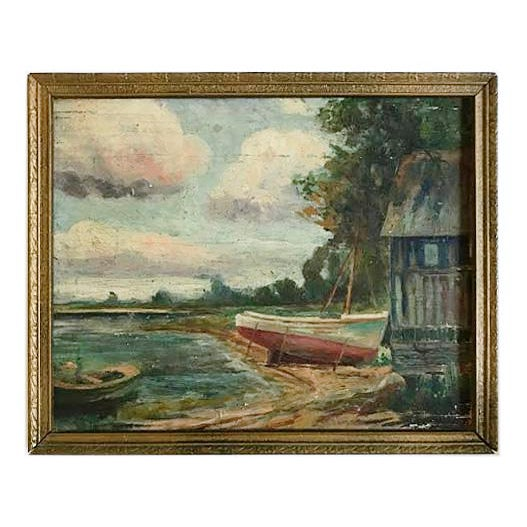 Painting - Vintage Landscape With Boats Painting For Sale In Providence - Image 6 of 6