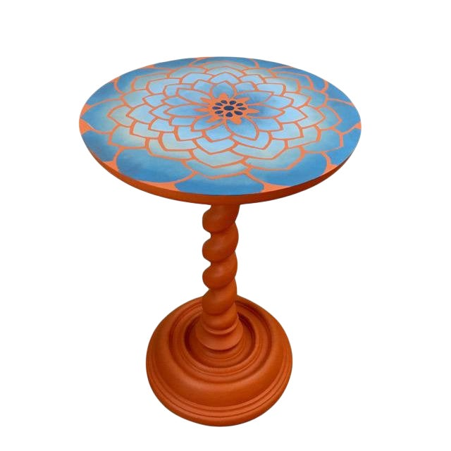 20th Century Boho Chic Hand Painted Flower Side Table For Sale
